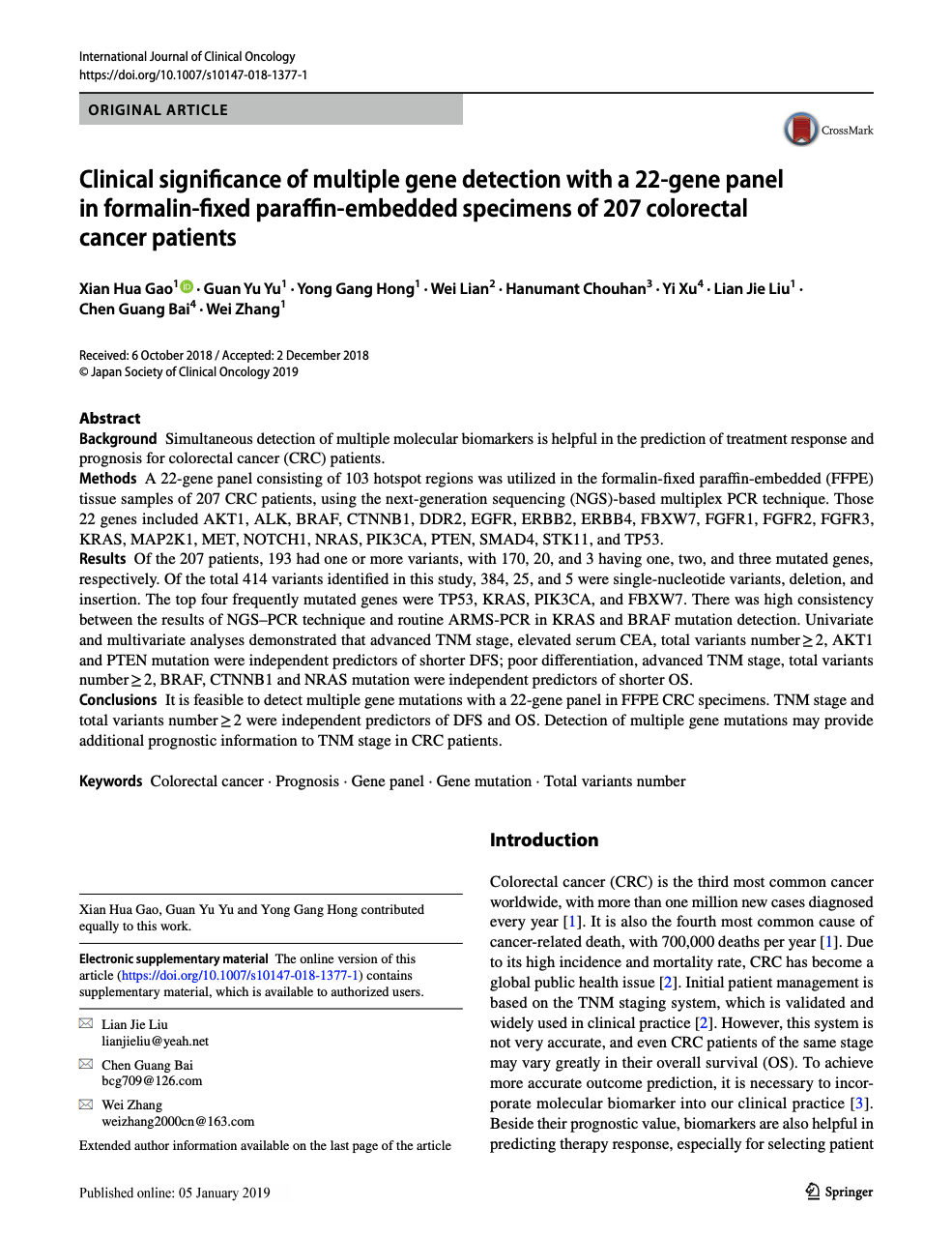 "Screenshot of the first page of the article entitled ""Clinical significance of multiple gene detection with a 22-gene panel in formalin-fixed paraffin-embedded specimens of 207 colorectal cancer patients"