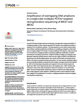 First page of PLOS publication entitled Amplification of overlapping DNA amplicons in a single-tube multiplex PCR for targeted next-generation sequencing of BRCA1 and BRCA2